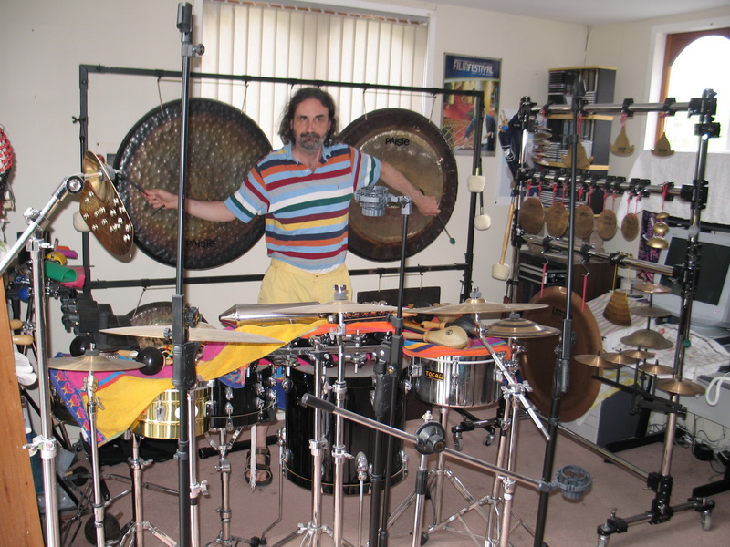 Simon O'Rorke playing percussion rig, 2008