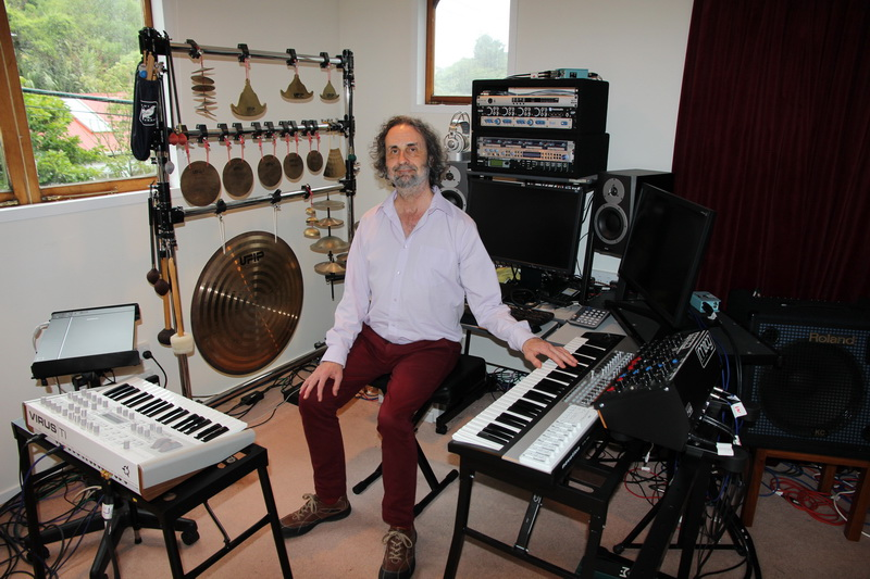 Simon O'Rorke in studio with synths